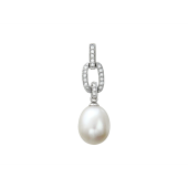Кулон с жемчугом и бриллиантами, белое золото