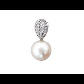 Кулон с жемчугом пресноводным и бриллиантами, белое золото