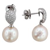 Серьги-пусеты с жемчугом и бриллиантами, белое золото