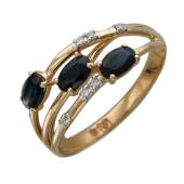 Кольцо с бриллиантами и овальными сапфирами, красное золото