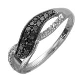 Кольцо Бесконечность с черными и прозрачными бриллиантами, белое золото