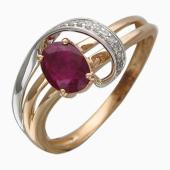 Кольцо с бриллиантами и овальным сапфиром/рубином, комбинированное золото