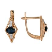 Серьги Ромбы с бриллиантами и сапфиром (изумрудом), красное золото