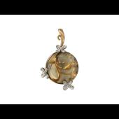 Кулон Круглый с цветами, Кварц и Бриллианты, красное золото