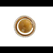 Кулон Круглый с цитрином и бриллиантами, желтое золото