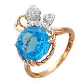 Кольцо Яблочко с бриллиантами и круглым топазом, красное золото