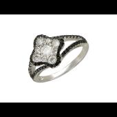 Кольцо Четырехлистник с чёрными и прозрачными бриллиантами, белое золото