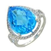 Кольцо Морская Капля с топазом и бриллиантами, белое золото