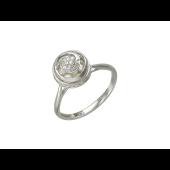 Кольцо с бриллиантами и жемчугом внутри, белое золото