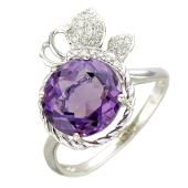 Кольцо Яблочко с бриллиантами и круглым аметистом, белое золото