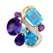 Кулон Бесконечность с бриллиантами, аметистом и топазом, красное золото