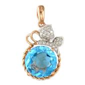 Кулон Яблоко с бриллиантами и круглым топазом, красное золото