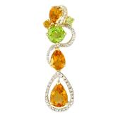 Кулон длинный с бриллиантами, хризолитом и цитрином, желтое золото