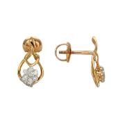 Серьги-пусеты Цветок с бриллиантами, красное золото