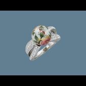 Кольцо Роза с пластиком и эмалью, серебро