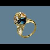 Кольцо Роза с пластиком и эмалью, серебро с позолотой