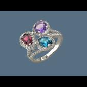Кольцо с топазом, родолитом и аметистом, серебро