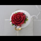 Кольцо Роза с ониксом, пластиком и эмалью, серебро с позолотой