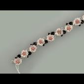 Браслет Цветы с розовым кварцем, гранатом и фианитами, серебро