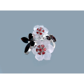 Кольцо Бабочки с гранатом, кварцем розовым, серебро