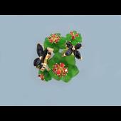 Кольцо Бабочки с гранатом, кварцем зеленым и голубым, серебро с позолотой