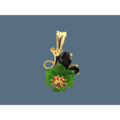 Кулон Цветок с гранатом, зеленым кварцем и фианитами, серебро с позолотой