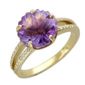 Кольцо с камнем огранки Цветок (топаз, аметист, празиолит) и фианитами, желтое золото 585 проба