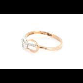 Кольцо с бриллиантами, красное и белое золото