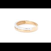Кольцо обручальное с тремя бриллиантами, красное золото и родирование