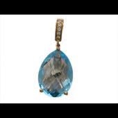Кулон с крупным камнем в форме Груша и фианитами, красное золото