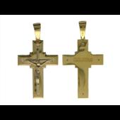 Крест православный широкий прямоугольный с четырьмя бриллиантами, желтое и белое золото 750 проба 32.6 мм