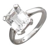 Кольцо с большим топазом октагон в сердечках, белое золото
