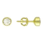 Пусеты-гвоздики, средний круглый фианит в круглом держателе, желтое золото