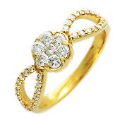 Кольцо Цветок с листочками с бриллиантами, желтое золото, 585 проба