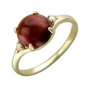 Кольцо с фианитами и круглым камнем (топаз, гранат), желтое золото