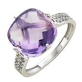 Кольцо с аметистом бриолет антик и фианитами, белое золото