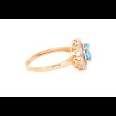 Кольцо с топазом и фианитами, красное золото