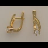 Серьги Цветы с бриллиантами, комбинированное золото 750 проба