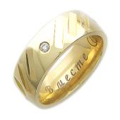 Кольцо обручальное с 4 бриллиантами и насечками, гравировка Вместе Навсегда, жёлтое золото 6.8мм