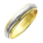 Обручальное кольцо, цветы с алмазной гранью, желтое и белое золото, ширина шинки 4.00 мм