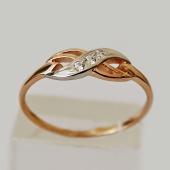 Кольцо, Бесконечность, три фианита, родирование, красное золото 585 проба
