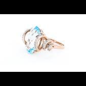 Кольцо с бриллиантами и овальным топазом, красное золото