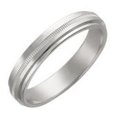 Кольцо обручальное с тонкой резьбой, белое золото 3.9 мм