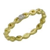 Кольцо Викс с бриллиантом, имитация якорной цепи, желтое золото