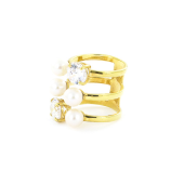 Кольцо широкое с жемчужинами и фианитами, серебро с золотым покрытием
