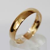 Обручальное кольцо гладкое выпуклое, желтое золото, 585 пробы 4mm