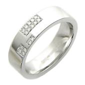 Кольцо обручальное с бриллиантами в квадратиках, белое золото 585 проба