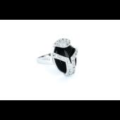 Кольцо с чёрным агатом и фианитами, серебро