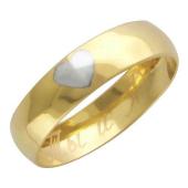 Кольцо обручальное с гравировкой Сердце и Ты и Я ширина 4мм, желтое золото
