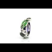 Кулон Лягушка и Лотос с зелёными фианитами, эмалью и шпинелью, серебро